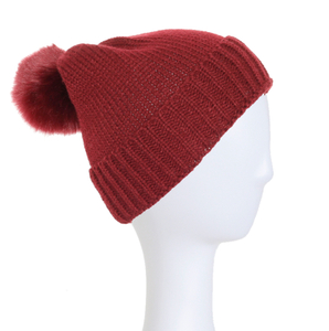 Lady Fashion Colorful Customized Simple Beanie Knitted Winter Cuffed Hat with Ball