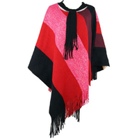 Women Winter Fashion Plaid Jacquard Knitted Ponchos Shawl