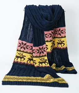 100% Acrylic Customized Wholesale Lady Fashion Jacquard Knitted Scarf