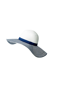 Wholesale Bulk Black White Striped Women Big Wide Brim Beachwear Straw Hats For Decorate